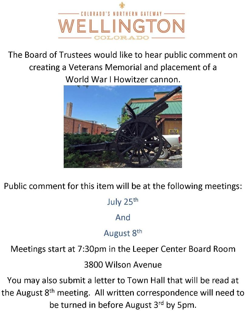 The Board of Trustees would like to hear public comment on creating a Veterans Memorial and placemen
